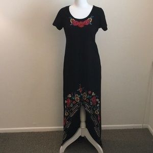 JW Los Angeles Black Embroidered High-Low Dress